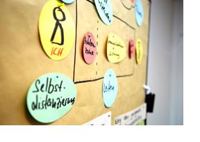 An eine Tafel sind farbige Zettel gepint. (Foto: Bundesagentur für Arbeit / Patricia Leitao)